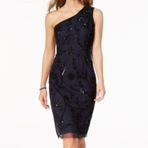 Adrianna Papell Beaded One-Shoulder Dress